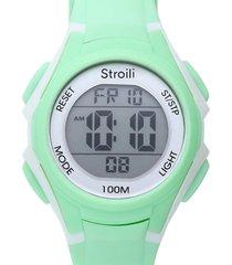 orologio multifunzione con cinturino in silicone verde cassa in acciaio per donna