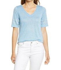 bobeau v-neck embroidered sleeve top, size medium in dusk blue at nordstrom