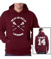 lahey 14 isac lahey cross beacon hills lacrosse maroon hoodie teen wolf