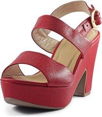sandalia cuero rojo versilia anastacia