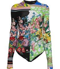 mixed floral-print bodysuit