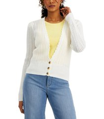 charter club petite crochet cropped cardigan, created for macy's