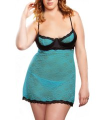 women's plus size contrast half cup babydoll lingerie set