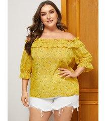 blusa con hombros descubiertos y talla grande con volantes amarillos calico
