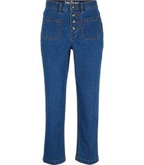 jeans elasticizzati cropped a vita alta (blu) - john baner jeanswear