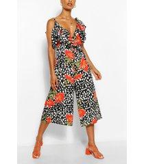 frill strap floral smudge print jumpsuit, black