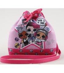 bolsa saco infantil lol surprise estampada rosa