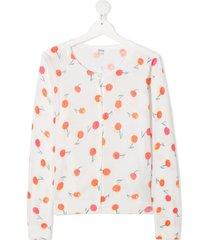 bonpoint teen cherry-print cotton cardigan - neutrals