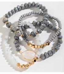 women's aniyah quartz beaded bracelet set in gray by francesca's - size: one size