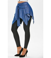 chambray overlay waist tie skeggings