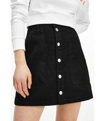 tommy hilfiger women's organic cotton button skirt black - m