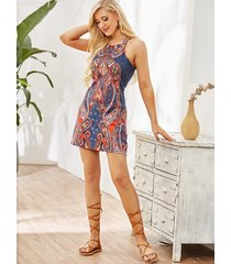 tribal print halter sleevesless mini length dress