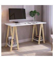 mesa para computador escrivaninha studio pinus natural artesano branca