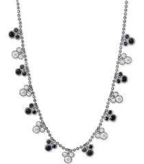 "disney black spinel & cubic zirconia mickey mouse 18"" station necklace in sterling silver"
