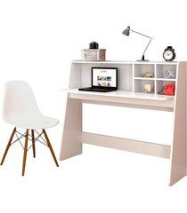 mesa para computador escrivaninha idealle e cadeira charles branco - mpozenato - bronze - dafiti