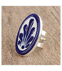ceramic cocktail wrap ring, 'blue fan flower' (mexico)