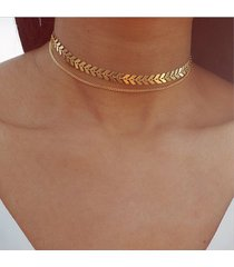 collana girocollo in oro con doppia collana a catena a forma di perline in legno con paillette per le donne