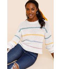 women's malissa striped pullover sweater in multi by francesca's - size: l