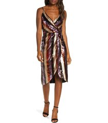 women's forest lily striped sequin faux wrap dress, size 2 - brown