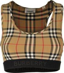 burberry logo detail vintage check bra top