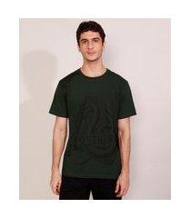 camiseta masculina manga curta sonserina harry potter gola careca verde escuro