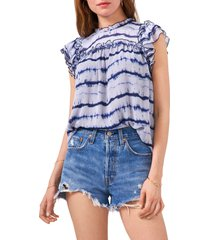 1.state ruffle yoke top, size small in romantic tiedye at nordstrom
