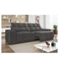 sofá 3 lugares net jaguar assento retrátil e reclinável cinza 2,00m (l)