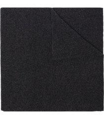 ganni ribbed-knit long scarf - grey