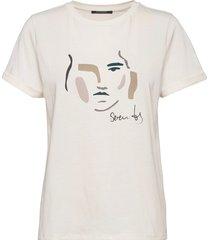 carla face tee t-shirts & tops short-sleeved vit bruuns bazaar