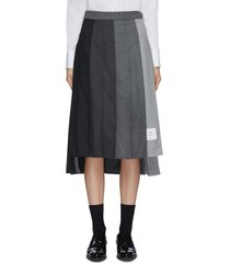 'funmix' contrast panel pleat wool skirt