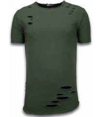 t-shirt korte mouw â© man damaged look long fit