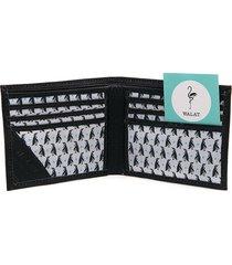 billetera pingüinos - cuero liso negro
