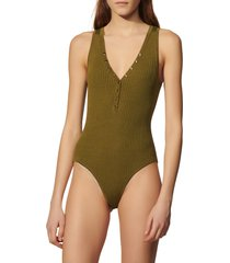 women's sandro salvador ribbed sleeveless bodysuit, size 4 - green