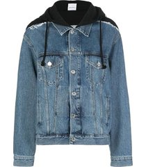 hooded denim jacket blue