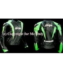 kawasaki ninja motorcycle racing leather jacket in green and black color for men