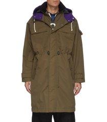 drawstring waist fishtail nylon hood parka coat