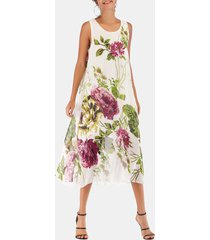 flower print chiffon midi flowy dress