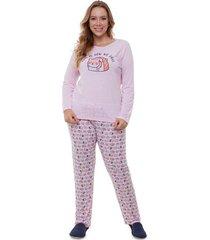 pijama  longo plus size sushi feminino adulto luna cuore