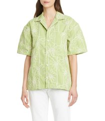 women's jacquemus embroidered twill shirt