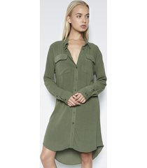 charlie button up shirt dress - s military