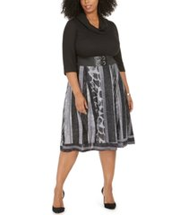robbie bee plus size ribbed-top belted animal-print dress