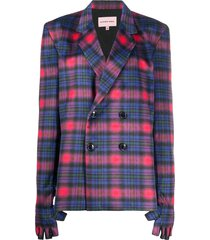 natasha zinko glove-detail plaid blazer - blue