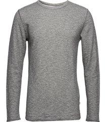 doublelayer striped sweat - gots t-shirts long-sleeved grijs knowledge cotton apparel