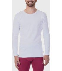 camiseta jockey manga larga cotton rib blanco - calce ajustado