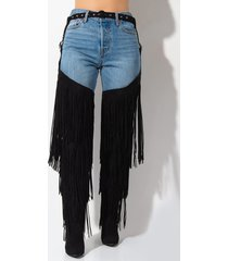 akira cape robbin all for you thigh high belted fringe boot