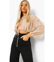 geplooide blouse met strik, sand