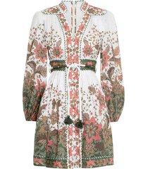 empire batik short dress in khaki batik