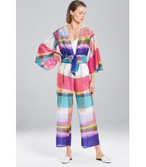 brushstroke plaid pants, women's, silk, size xs, josie natori