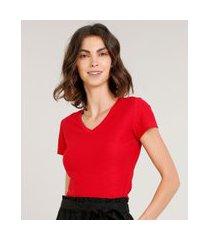 camiseta flamê de algodão básica manga curta decote v vermelha