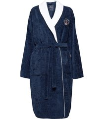 lexington cotton velour contrast robe ochtendjas badjas blauw lexington home